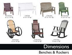 BENCHES & ROCKERS (DIMENSIONS) by Recycled Patio