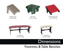 FOOTRESTS & TABLE BENCHES (DIMENSIONS) by Recycled Patio