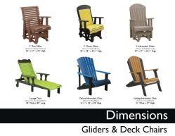 GLIDERS & DECK CHAIRS (DIMENSIONS) by Recycled Patio