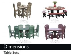 TABLE SETS (DIMENSIONS) by Recycled Patio