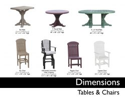 TABLES & CHAIRS (DIMENSIONS) by Recycled Patio