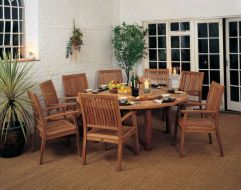 DRUMMOND Dining Table with lazy susan and Monaco armchairs