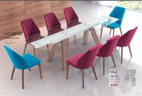 VAZ DINING CHAIRS & WONDER EXTENSION DINING TABLE by Zuo
