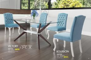 VICTORY DINING TABLE & BOURBON DINING CHAIRS by Zuo