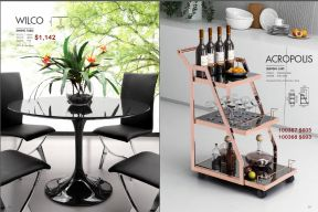 WILCO DINING TABLE & ACROPOLIS SERVING CART by Zuo