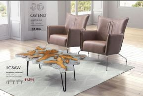 JIGSAW RECTANGULAR COFFEE TABLE & OSTEND OCCASIONAL CHAIR by Zuo
