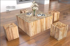 CAVE COFFEE TABLE & TABLE STOOL by ZUO Pure