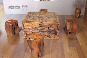 EROSION & PREHISTORIC COFFEE TABLE & TABLE STOOL by ZUO Pure