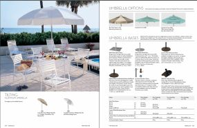 TILTING (Aluminum) Umbrella & Nases & Options by Tropitone 2016-18