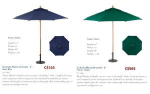 6ft. Octagon Sunbrella Market Umbrella Navy Blue & Hunter Green by Oxford Garden