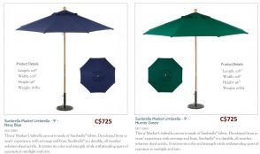 9ft. Octagon Sunbrella Market Umbrella Navy & Hunter Green by Oxford Garden