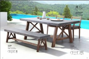 FORD Bench & Dining Table by ZUO VIVE 2017