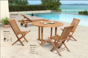 REGATTA Dining Table, Folding Chair & STARBOARD Chaise Lounge by ZUO VIVE 2017