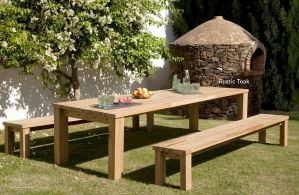 RUSTIC (Teak) Dining Table & Benches by Barlow Tyrie