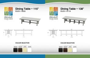 115 in & 138 in DINING TABLES by Element Square